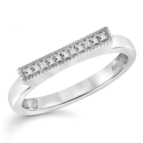JewelonFire Accent Diamond Sterling Silver Lustre Band
