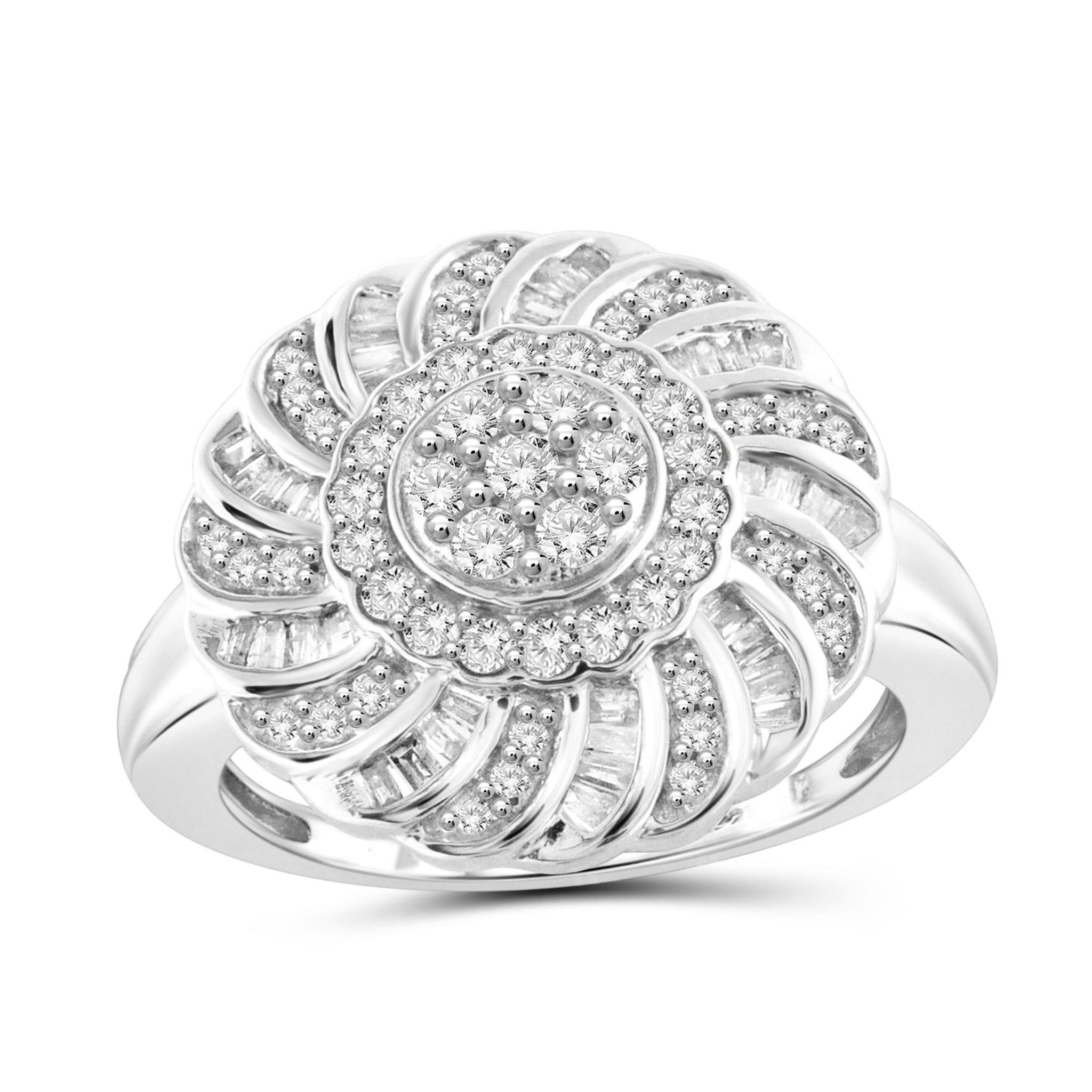 JewelersClub 1 Carat T.W. White Diamond Sterling Silver Floral Ring