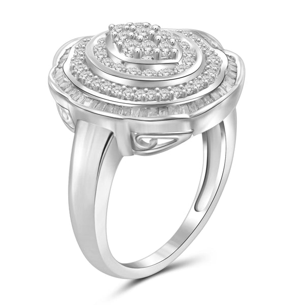 JewelonFire 1 Carat T.W. White Diamond Sterling Silver Floral Halo Cocktail Ring