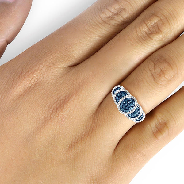 JewelonFire 1 Carat T.W. Blue And White Diamond Sterling Silver Layered Halo Ring