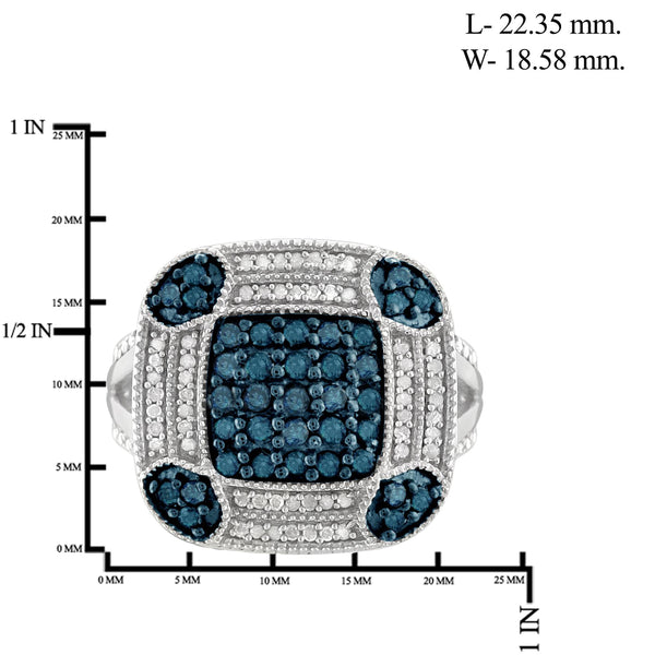JewelonFire 1 Carat T.W. Blue And White Diamond Sterling Silver Vintage Square Halo Ring
