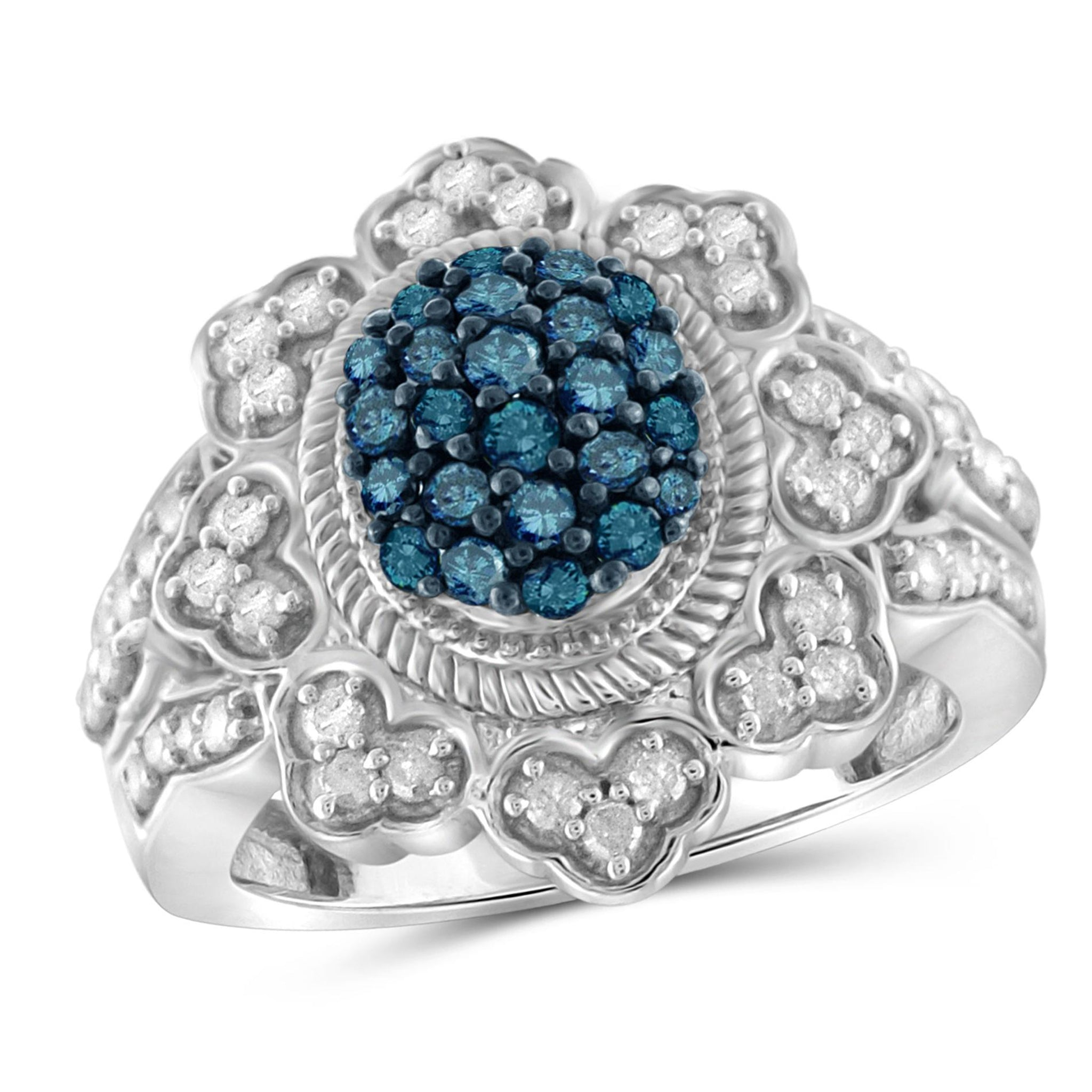 JewelersClub 1 Carat T.W. Blue And White Diamond Sterling Silver Flower Petal Halo Ring