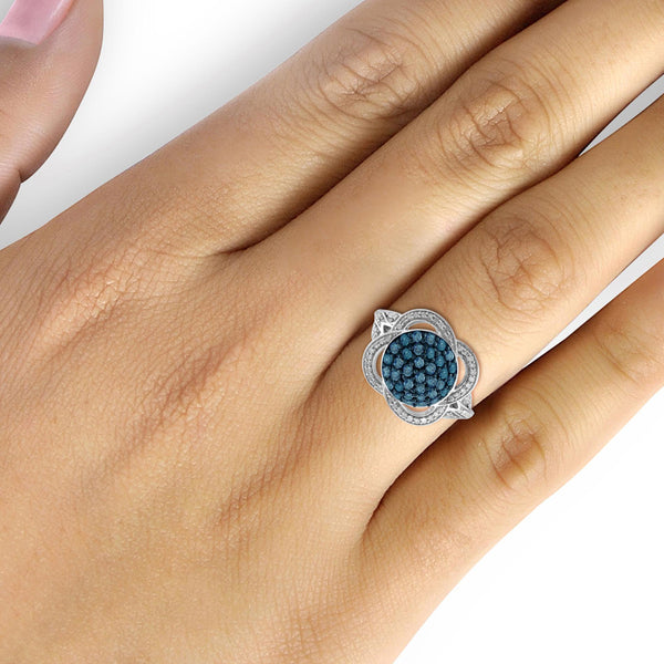JewelonFire 1 Carat T.W. Blue And White Diamond Sterling Silver Clover Weave Ring