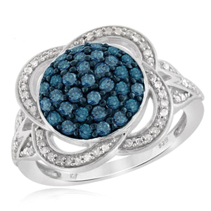 JewelersClub 1 Carat T.W. Blue And White Diamond Sterling Silver Clover Weave Ring