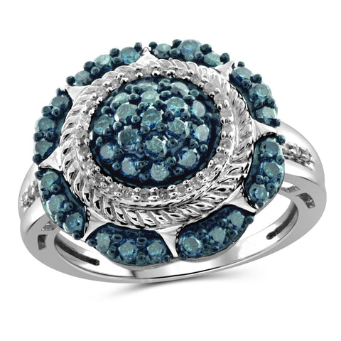 JewelersClub 1 Carat T.W. Blue And White Diamond Sterling Silver Burst Tripple Halo Ring