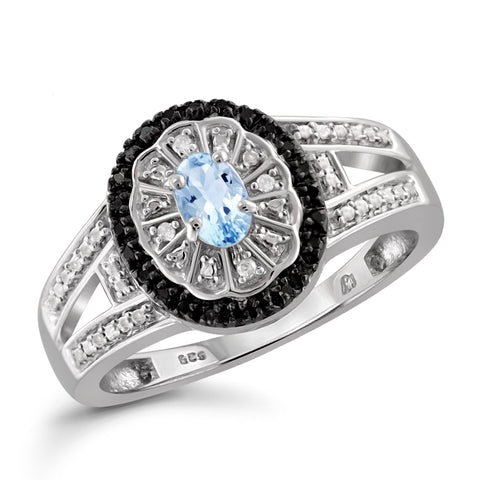 JewelonFire 1/2 Carat T.G.W. Sky Blue Topaz And Black & White Diamond Accent Sterling Silver Ring - Assorted Colors