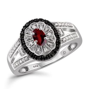 JewelonFire 1/2 Carat T.G.W. Garnet And Black & White Diamond Accent Sterling Silver Ring - Assorted Colors