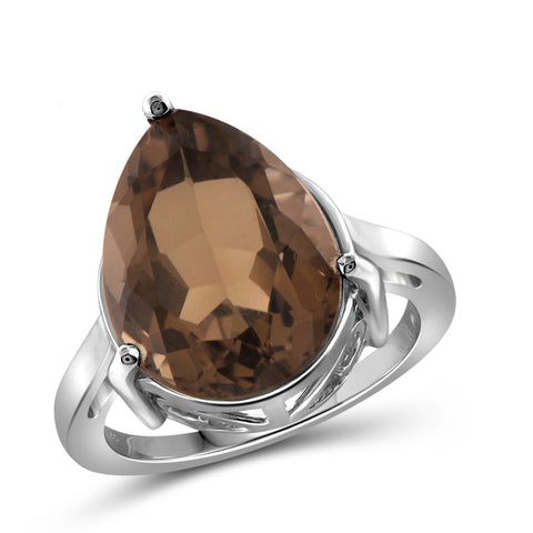 JewelonFire 8 1/2 Carat T.G.W. Smoky Quartz Sterling Silver Ring - Assorted Colors