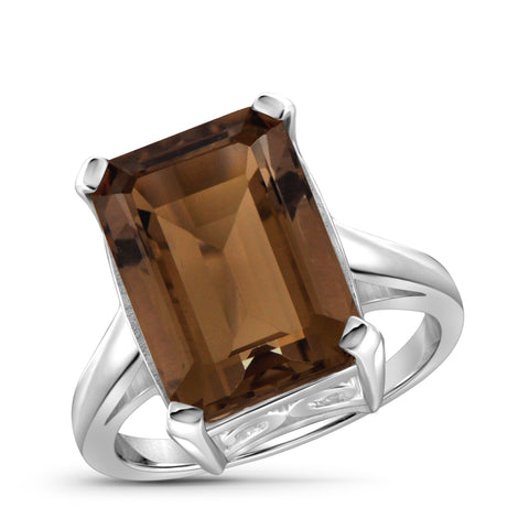 JewelonFire 6 3/4 Carat T.G.W. Smoky Quartz Sterling Silver Ring - Assorted Colors