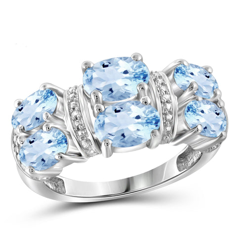 JewelonFire 4 1/2 Carat T.G.W. Sky Blue Topaz And White Diamond Accent Sterling Silver Ring - Assorted Colors