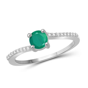 JewelonFire 1/2 Carat T.G.W. Emerald and White Diamond Accent Sterling Silver Promise Ring - Assorted Colors