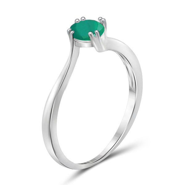 JewelonFire 1/2 Carat T.G.W. Emerald Sterling Silver Ring - Assorted Colors