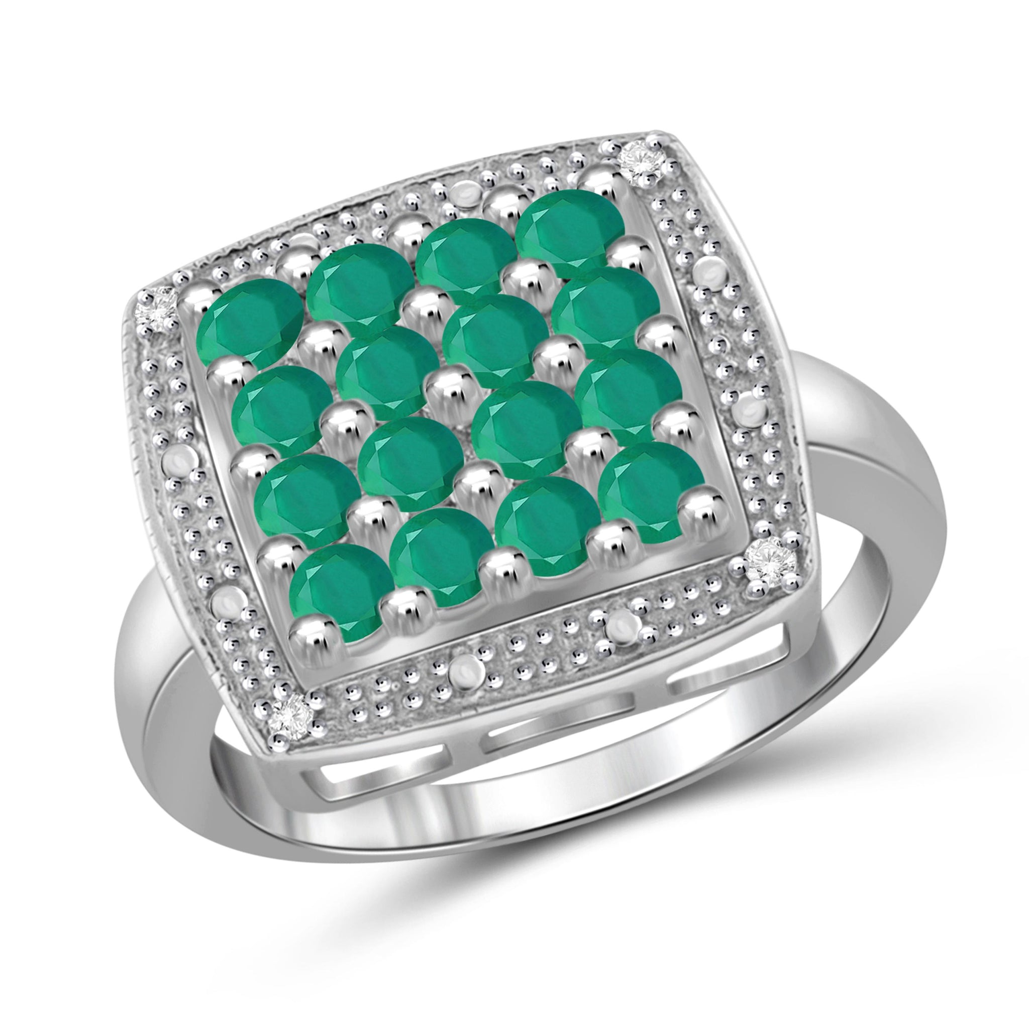 JewelonFire 1 Carat T.G.W. Emerald and White Diamond Accent Sterling Silver Ring- Assorted Colors