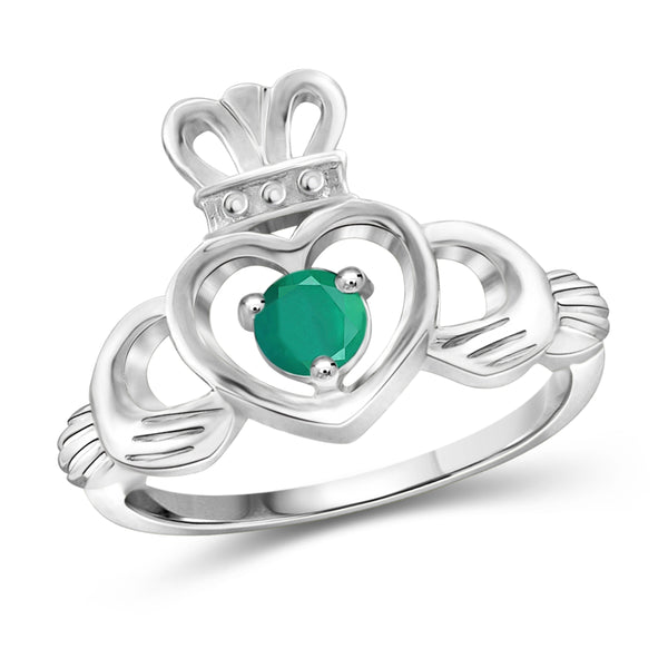 JewelonFire 1/4 Carat T.G.W. Emerald Sterling Silver Heart Crown Ring- Assorted Colors