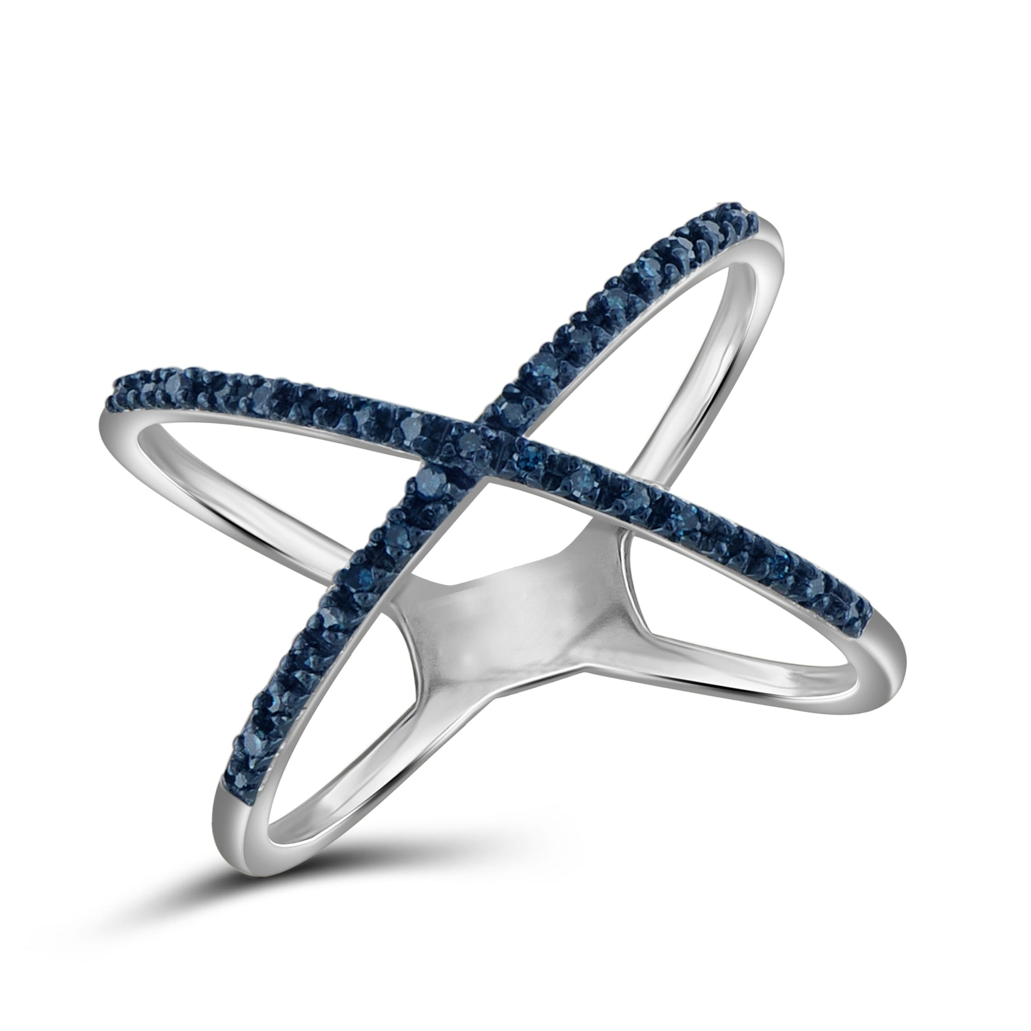 "JewelersClub 1/10 CTW Blue Diamond Sterling Silver ""X"" Ring"