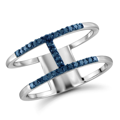 "JewelonFire Blue Diamond Accent Sterling Silver ""H"" Ring"