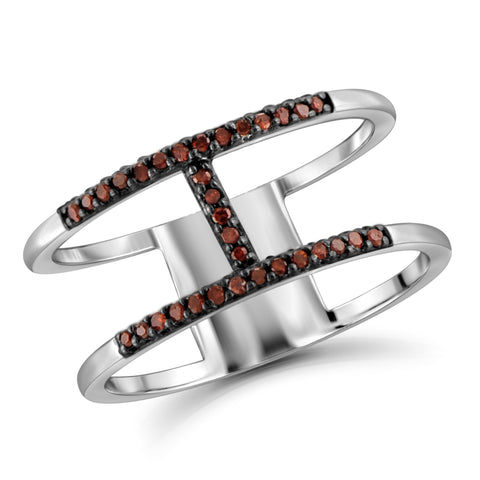 "JewelonFire Red Diamond Accent Sterling Silver ""H"" Ring"