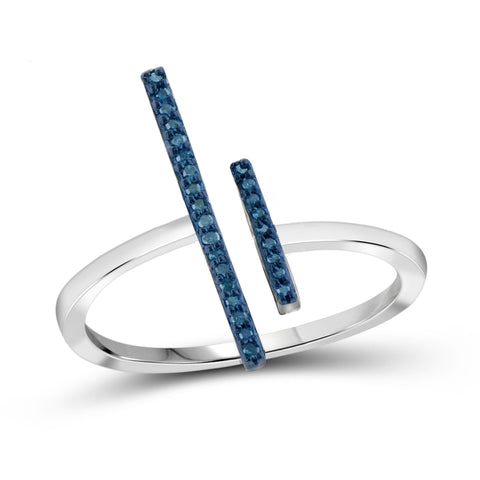 JewelonFire Blue Diamond Accent Sterling Silver Parallel Bar Ring