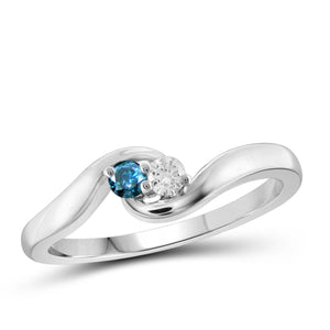 Jewelnova 1/10 Carat T.W. Blue And White Diamond 10K White Gold Promise Ring