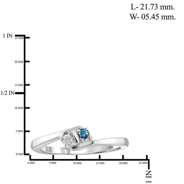 Jewelnova Blue And White Diamond Accent 10K White Gold Two Stone Engagement Ring
