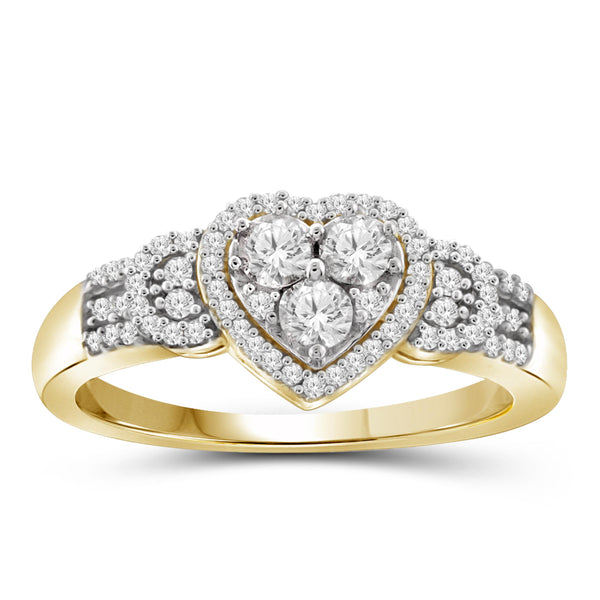 Jewelnova 1/4 Carat T.W. White Diamond 10K Gold Heart Ring - Assorted Colors