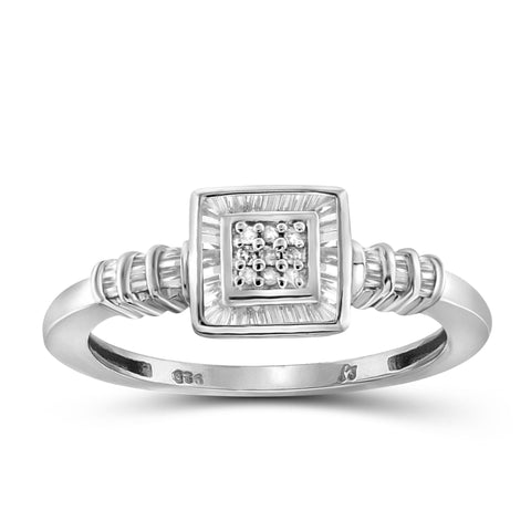 Jewelnova 1/4 Carat T.W. White Diamond 10K Gold Square Ring - Assorted Colors