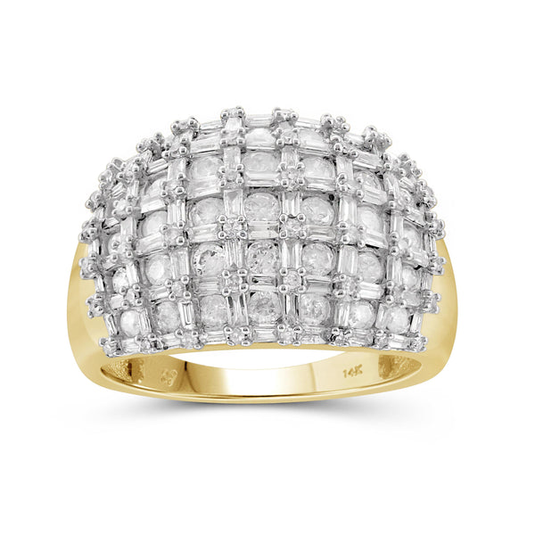 Jewelnova 2.00 Carat T.W. White Diamond 10K Gold Dome Ring - Assorted Colors