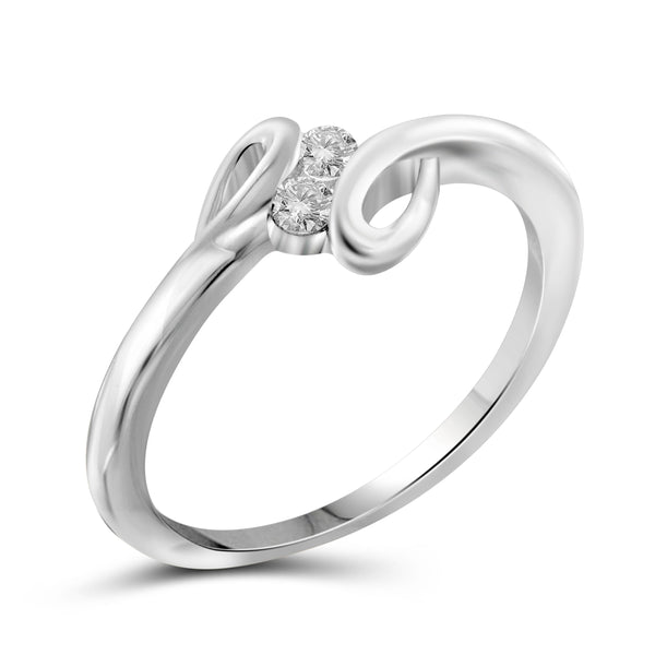 Jewelnova 1/10 Carat T.W. White Diamond 10K White Gold Promise Ring - Assorted Colors