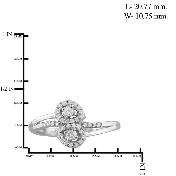 Jewelnova 1/7 Carat T.W. White Diamond 10K White Gold Two Stone Engagement Ring - Assorted Colors