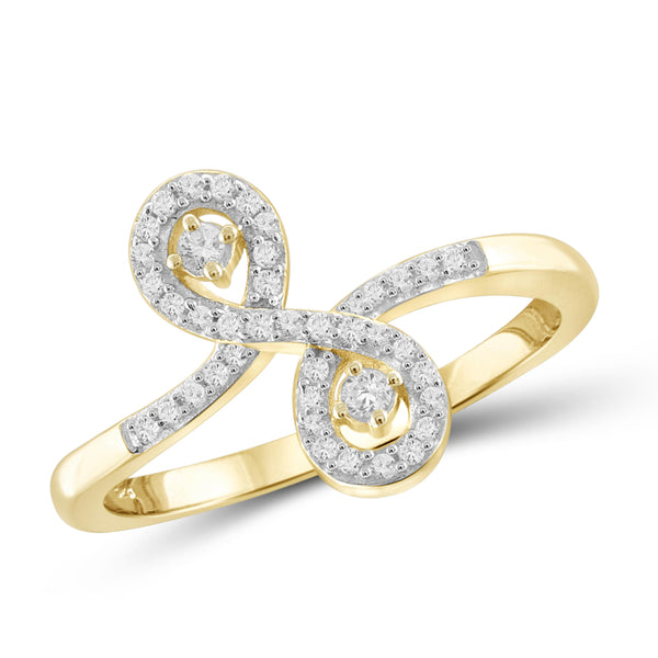 Jewelnova 1/7 Carat T.W. White Diamond 10K Gold Two Stone Cocktail Ring - Assorted Colors