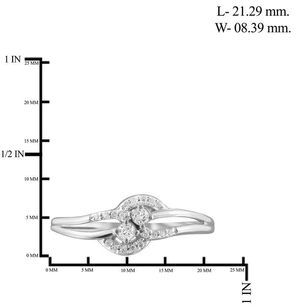 Jewelnova 1/7 Carat T.W. White Diamond 10K White Gold Promise Ring - Assorted Colors