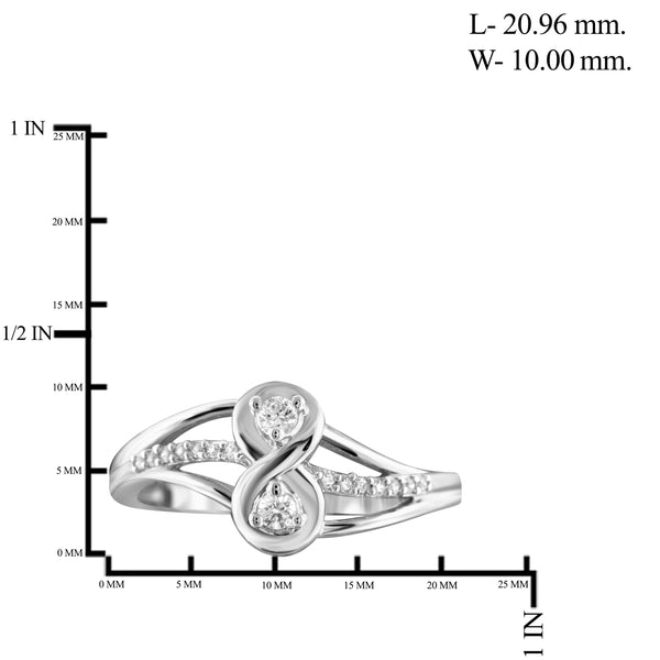 Jewelnova 1/7 Carat T.W. White Diamond 10K Gold Two Stone Ring - Assorted Colors