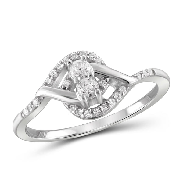 Jewelnova 1/5 Carat T.W. White Diamond 10K White Gold Promise Ring - Assorted Colors