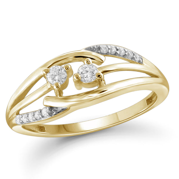 Jewelnova 1/5 Carat T.W. White Diamond 10K Gold Two Stone Ring - Assorted Colors