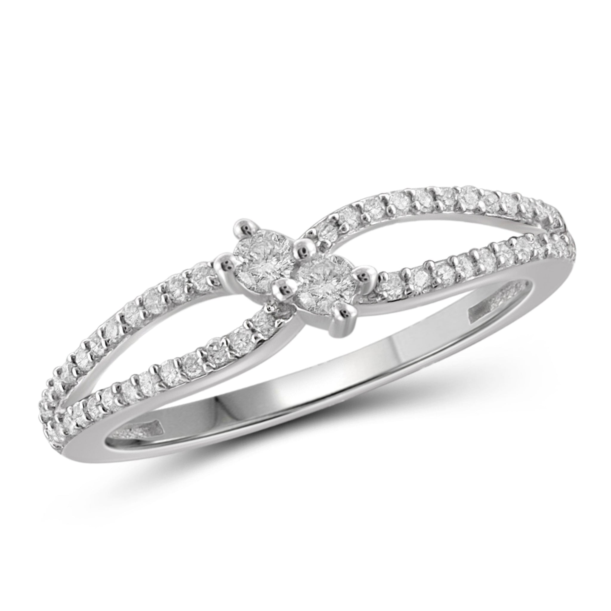 Jewelnova 1/4 Carat T.W. White Diamond 10K White Gold Promise Ring - Assorted Colors