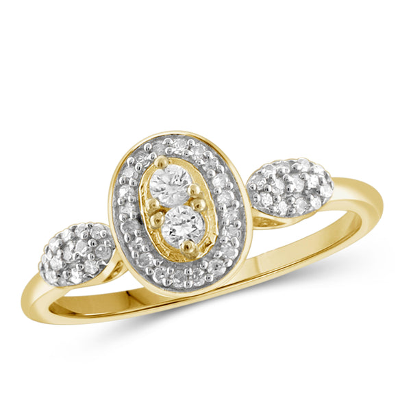 Jewelnova 1/4 Carat T.W. White Diamond 10K Gold Two Stone Halo Ring - Assorted Colors