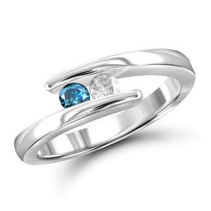 Jewelnova 1/4 Carat T.W. Blue And White Diamond 10K White Gold Two Stone Engagement Ring