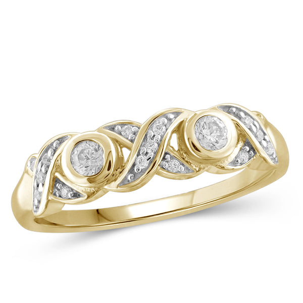 Jewelnova 1/4 Carat T.W. White Diamond 10K Gold Two Stone Ring - Assorted Colors