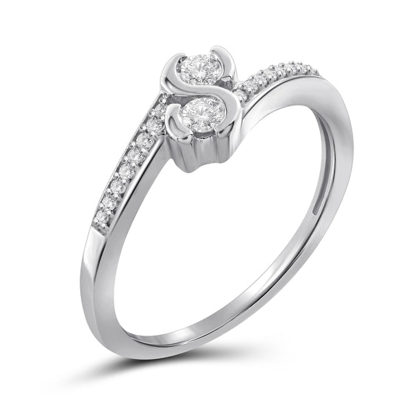 Jewelnova 1/4 Carat T.W. White Diamond 10K White Gold Two Stone Engagement Ring - Assorted Colors