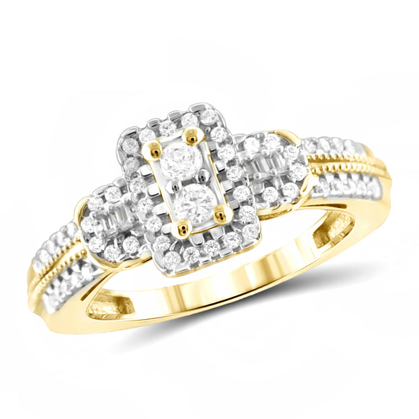 Jewelnova 1/2 Carat T.W. White Diamond 10K Gold Two Stone Ring - Assorted Colors
