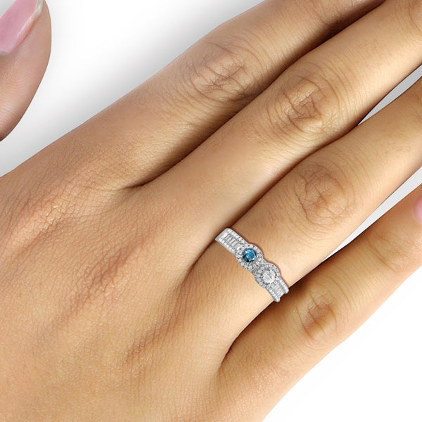 Jewelnova 1/2 Carat T.W. Blue White Diamond 10k White Gold Two Stone Bridal Ring