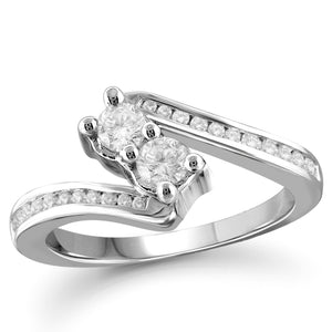 Jewelnova 3/4 Carat T.W. White Diamond 10K White Gold Two Stone Engagement Ring - Assorted Colors