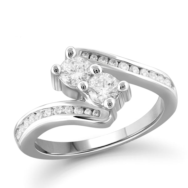 Jewelnova 1.00 Carat T.W. White Diamond 10K White Gold Two Stone Engagement Ring