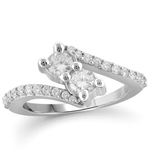 Jewelnova 1 1/4 Carat T.W. White Diamond 10K White Gold Two Stone Engagement Ring - Assorted Colors