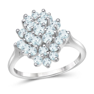 JewelonFire 1 1/2 Carat T.G.W. Aquamarine Sterling Silver Ring - Assorted Colors