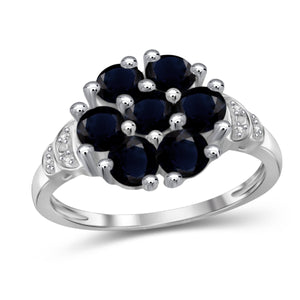 JewelonFire 2 3/4 Carat T.G.W. Sapphire And White Diamond Accent Sterling Silver Ring- Assorted Colors