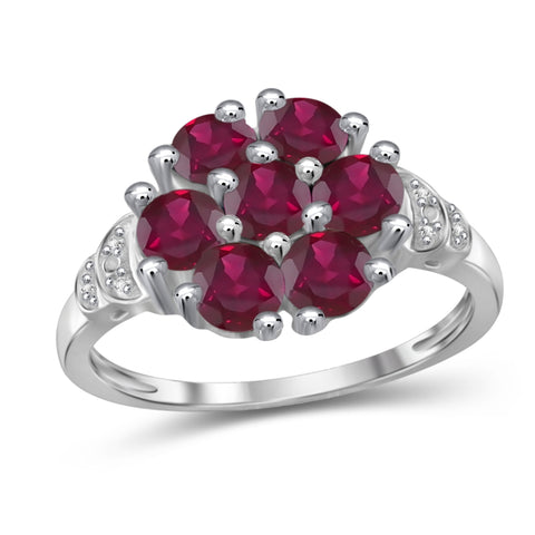 JewelonFire 2 1/3 Carat T.G.W. Ruby And White Diamond Accent Sterling Silver Ring- Assorted Colors