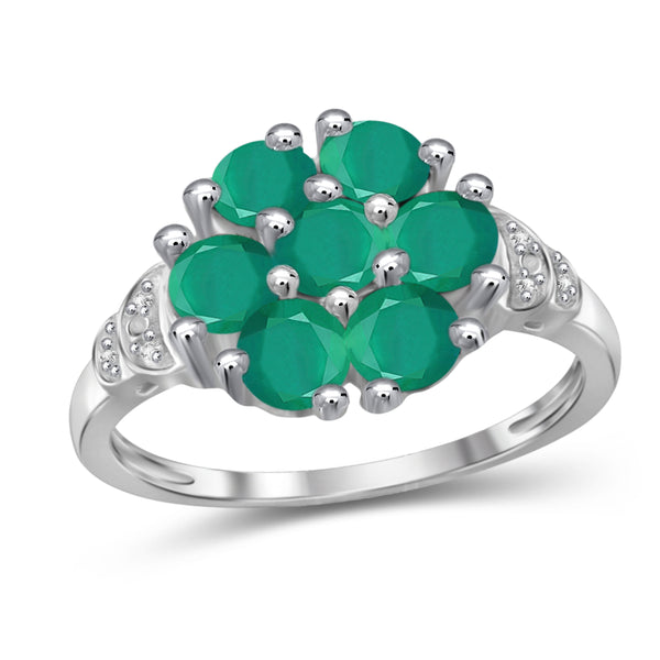 JewelonFire 2 Carat T.G.W. Emerald And White Diamond Accent Sterling Silver Ring- Assorted Colors