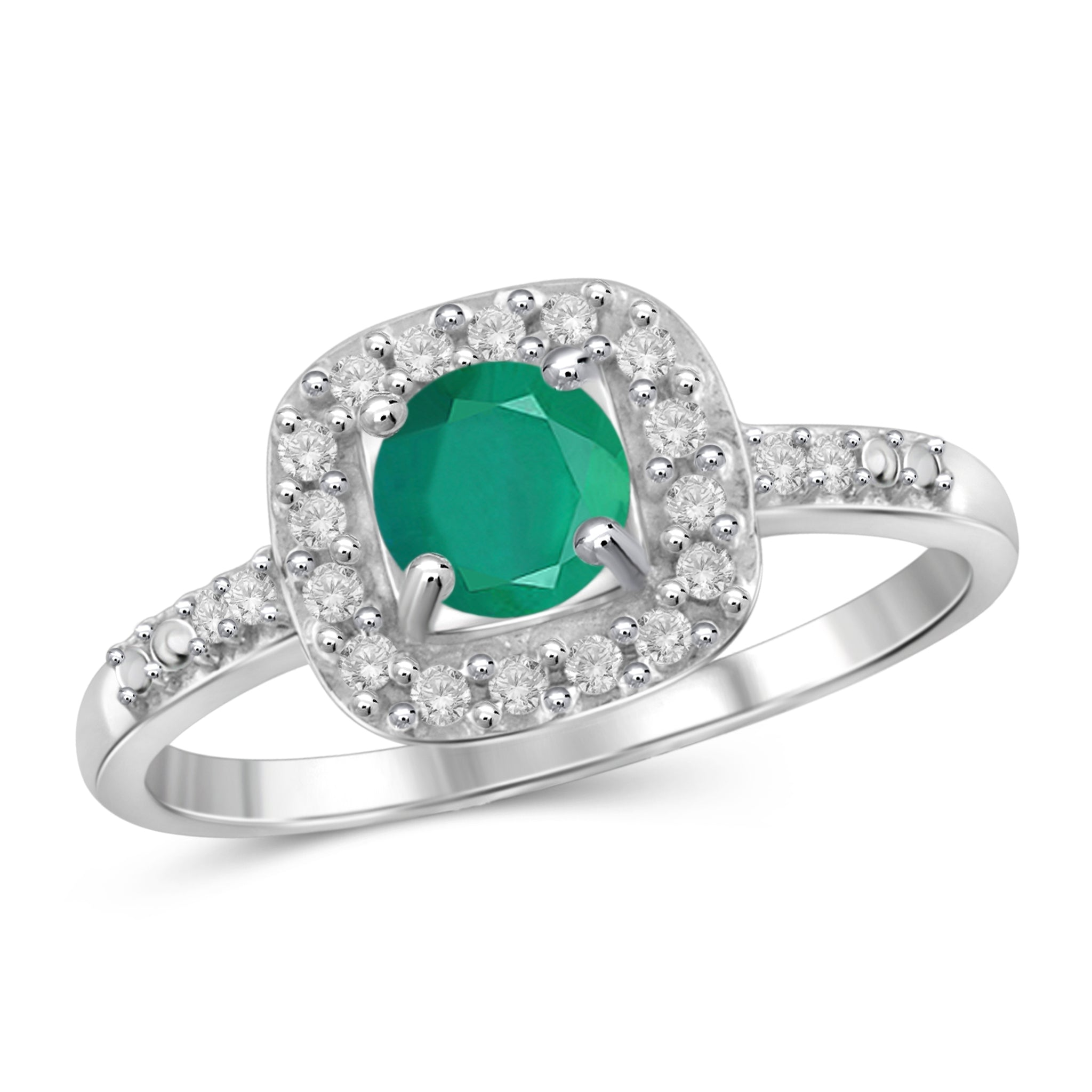 JewelonFire 1/2 Carat T.G.W. Emerald and White Diamond Accent Sterling Silver Ring- Assorted Colors