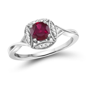 JewelersClub 3/4 Carat T.G.W. Ruby and White Diamond Accent Sterling Silver Promise Ring - Assorted Colors